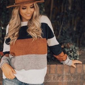Softest Fall Color block Sweater